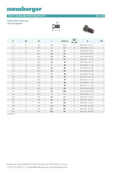 Turbo Torx®-Schraube für Wendeplatte Zubehör Wendeschneidplatten WZE 100 KV44