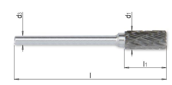 Fresa rotativa de metal duro, com dente cruzado, Ø da haste de 3mm